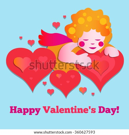 Vector red Valentine`s day card with Cupid and a heart. - stock vector