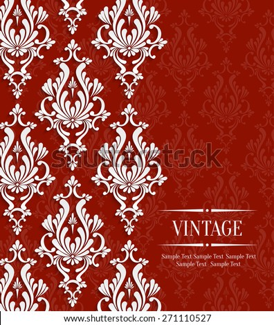 Vector Red Vintage Background with Floral Damask Pattern for Wedding or Invitation Card - stock vector