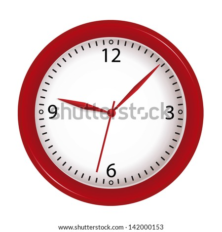 vector red wall clock isolated on white background - stock vector