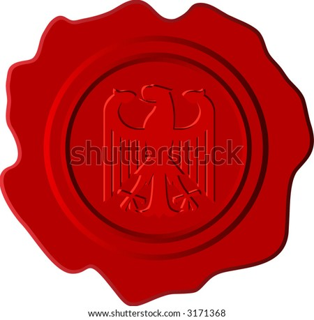 vector red wax with german eagle - stock vector