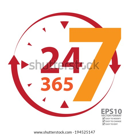 Vector : Red 24 7 365 With Clock and Arrow Sign Icon or Label Isolated on White Background - stock vector
