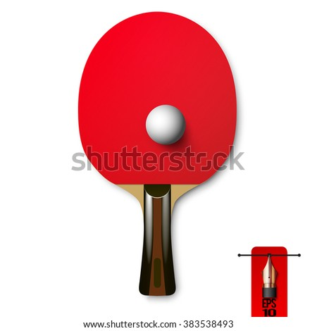 Vector red wooden table tennis racket with ball for ping pong - stock vector