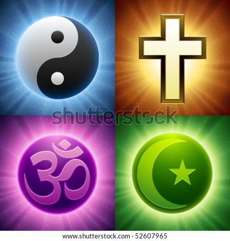 Vector Religion Symbols - stock vector