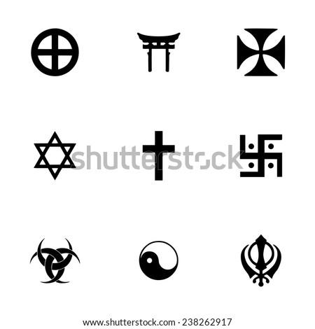 Vector religious symbols icon set on white background - stock vector