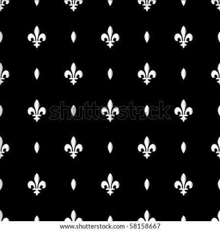 Vector repeating Fleur de Lys pattern. Swatch is included for easily creating large fills. - stock vector