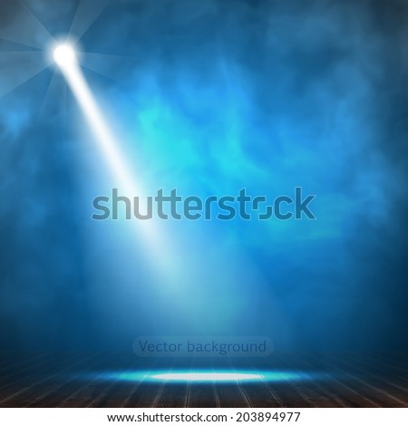 Vector representation background. Projector beam surrounded with a smoke.  - stock vector