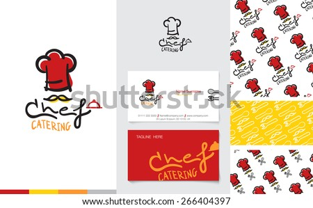 Vector : Restaurant and Catering Logo with business name card and corporate pattern in cartoon style, Branding concept. - stock vector
