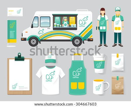 Vector restaurant cafe design set street food truck shop, flyer, menu, package, t-shirt, cap, uniform and display design/ layout set of corporate identity mock up template. - stock vector