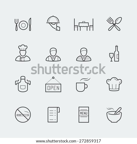 Vector restaurant icons in outline style - stock vector