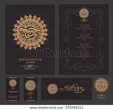Vector restaurant menu template and symbol. - stock vector