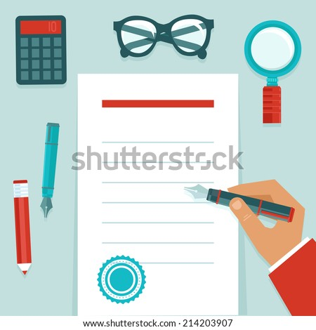 Vector resume concept in flat style - businessman's hand writing on white paper document - stock vector