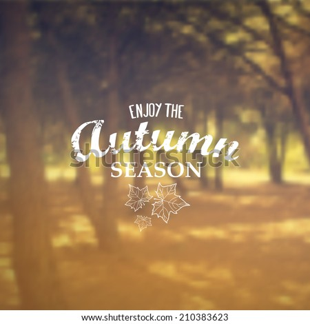 Vector Retro Autumn banner typography. Fall Label in blurred autumn landscape background.  - stock vector