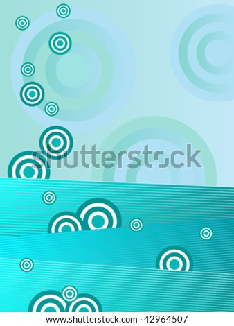 vector retro background in teal blue and green - stock vector