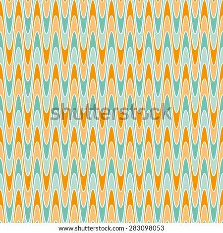 Vector retro background. Vintage texture colored. Old background with waves. Retro colors - blue, orange. Eps 10 vector file.  - stock vector