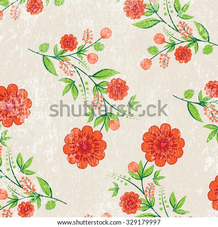 Vector retro background with floral ornament. Red flowers - stock vector