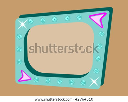 vector retro background with teal blue tv screen on brown background - stock vector