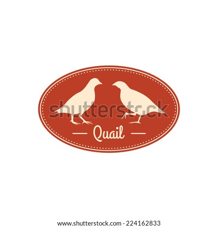 Vector retro badge with quail silhouettes. Oval shaped. - stock vector