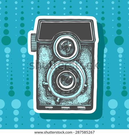 Vector retro camera illustration - stock vector