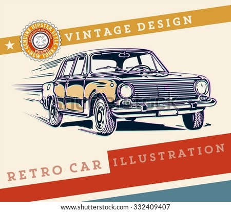 Vector. Retro car design - stock vector