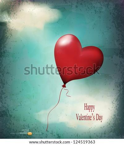 vector retro card( balloon-hearts flying in the sky) - stock vector