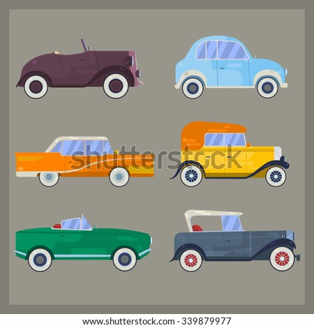 Vector retro cars, flat style. Set of vintage cars. Classic cars. Old cars.Retro luxury cars. Set of the icons in vector. Flat style retro cars. Big set of classical cars. - stock vector
