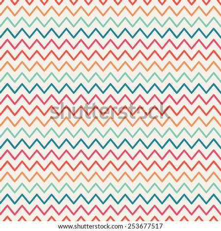 Vector retro chevron zigzag stripes geometric seamless pattern. Vintage hipster striped. For wallpaper, pattern fills, web page background, blog. Stylish graphic texture for your design. - stock vector