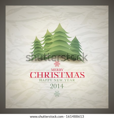 Vector retro Christmas card design template with wrinkled paper background. Elements are layered separately in vector file. - stock vector