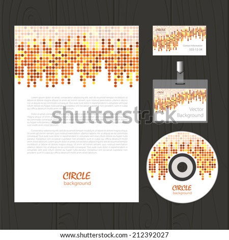 Vector retro corporate identity template with circle mosaic elements. Business card, disc, document, badge. Eps10 - stock vector