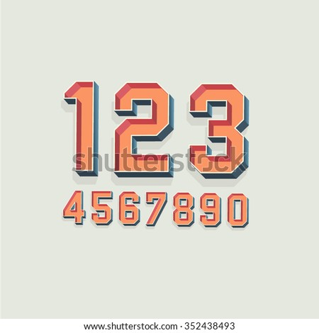 Vector Retro 3D Font with shadow. Vintage Numbers - stock vector
