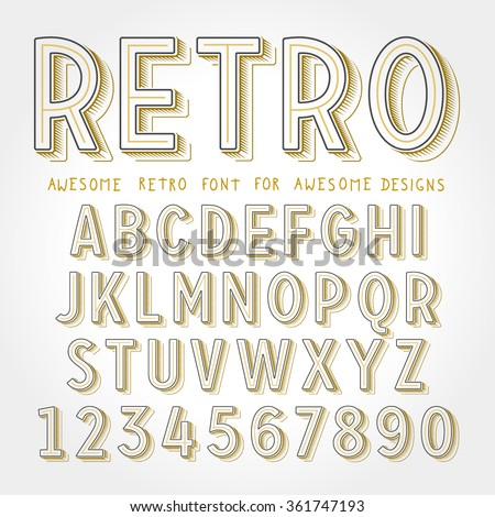 Vector Retro Font with shadow. Vintage Alphabet on grunge background - stock vector