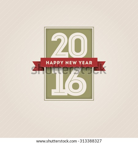 Vector retro 2016 happy new year design. - stock vector
