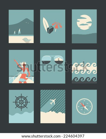 Vector Retro Illustrations Collection: Holiday and Travel  - stock vector