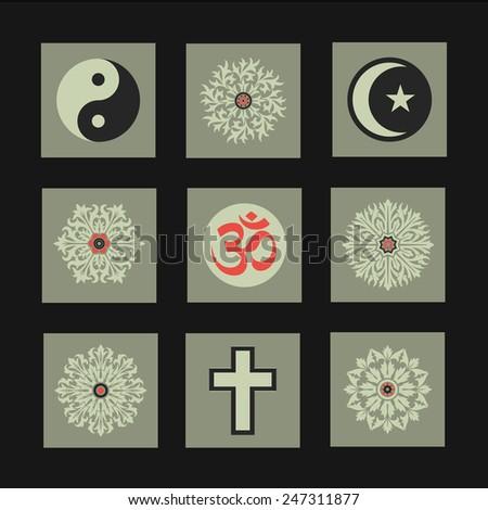 Vector Retro Illustrations Collection: Religion - stock vector