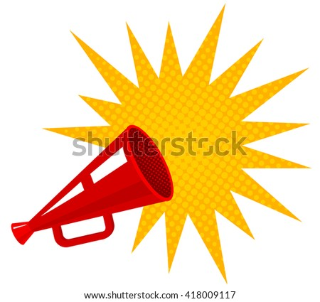 Vector retro megaphone with bubble for sale - stock vector