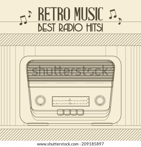 Vector Retro music event poster with Vintage Radio background illustration - stock vector