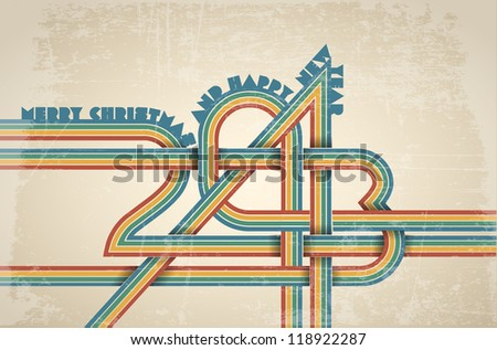 Vector retro new year card - 2013 made from stripes - stock vector