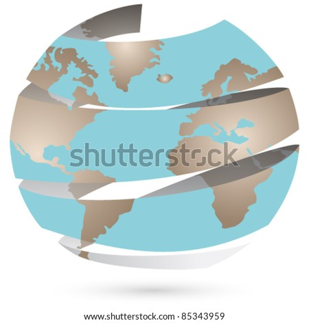 Vector retro, origami style illustration of Earth - stock vector