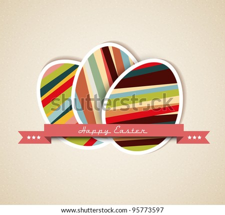 Vector retro Paper card with striped easter eggs and red ribbon - stock vector
