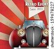 Vector Retro Party brochure illustration with vintage car - stock vector