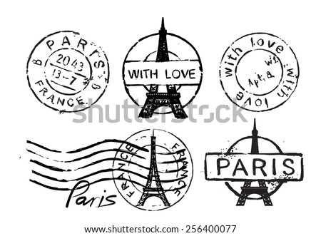 Vector retro postage stamp with Eiffel Tower - stock vector