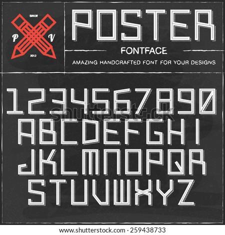 Vector Retro Poster Font. Vintage Alphabet on grunge blackboard - stock vector