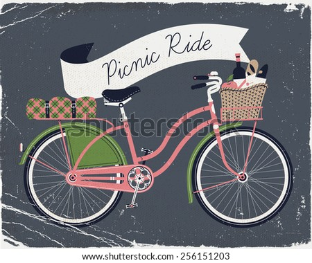 Vector retro poster on picnic ride with vintage bicycle with dress guard, wicker basket full of food like wine bottle, bread and apple and folded blanket fastened to rear rack. Old paper texture - stock vector