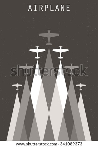 Vector retro poster with biplanes and airplane stream jet, pop-art minimalistic style, for travel agencies, aviation companies - stock vector