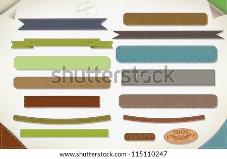 vector retro ribbon and vintage label, old paper. - stock vector