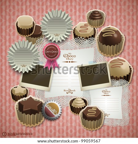 Vector Retro Scrapbook Element for Chocolate Diary - stock vector