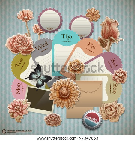 Vector Retro Scrapbook Element for Gardening Diary - stock vector