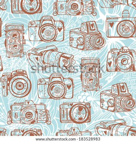 Vector retro seamless pattern with cameras. - stock vector