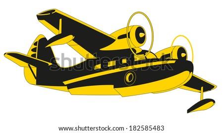Vector retro seaplane. Illustration clip art - stock vector