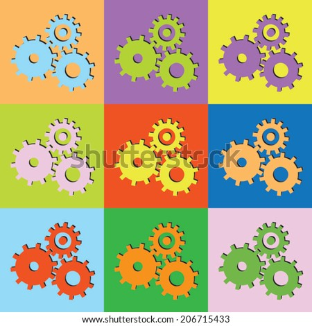 Vector retro set cogwheel-eps10 - stock vector