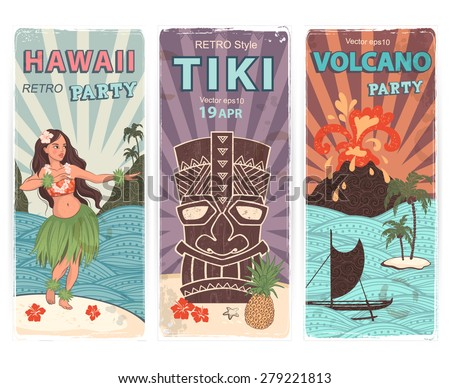 Vector Retro set of banners with  Hawaiian symbols - stock vector